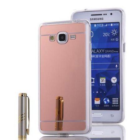 Galaxy Grand Prime mirror - lustro silikonowe etui lustrzane TPU - rose gold.