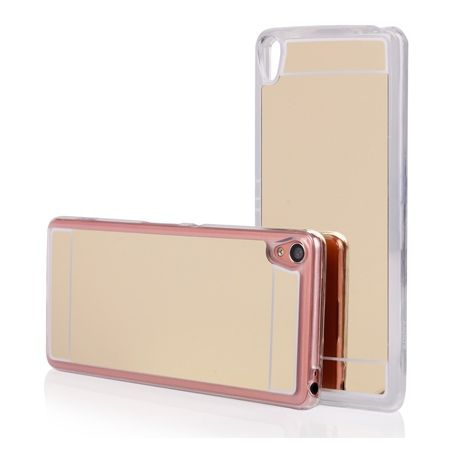 Xperia XA mirror - lustro silikonowe etui lustrzane TPU - złoty.