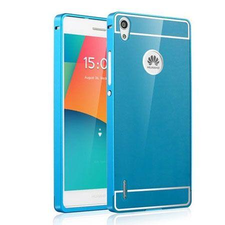 Huawei P7 etui aluminium bumper case niebieski. PROMOCJA !!!