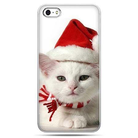 Świąteczne eui na telefon słodki kociak mikołaj.