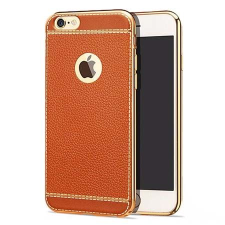 Etui na iPhone 6 Plus silikonowe platynowane TPU Slim skóra - brązowe.