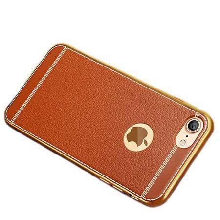 Etui na iPhone 7 silikonowe platynowane TPU Slim skóra - brązowe.