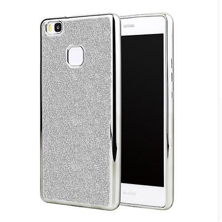 Huawei P9 Lite etui brokat silikonowe platynowane SLIM tpu - srebrny