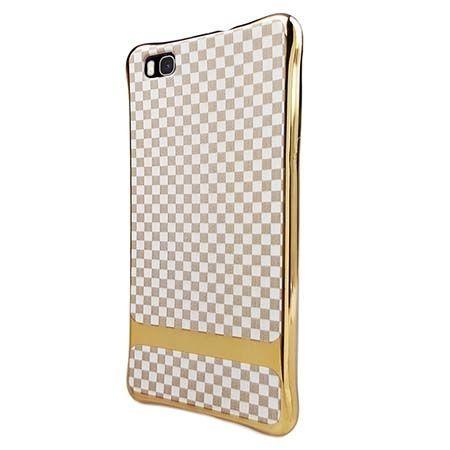 Silikonowe etui na Huawei P8 Lite platynowane Kwadraty - białe. PROMOCJA!!!