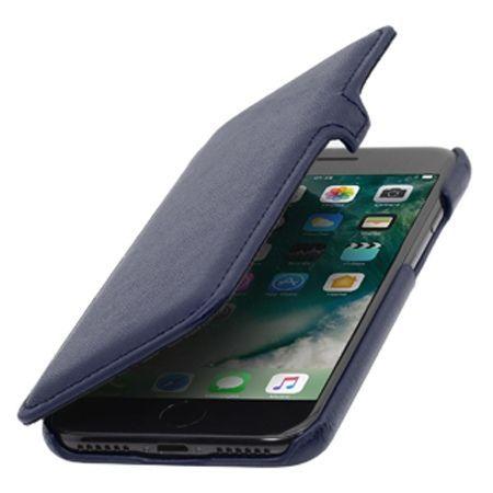 Etui na iPhone 7 Plus Stilgut BOOK skórzane z klapką - granatowy