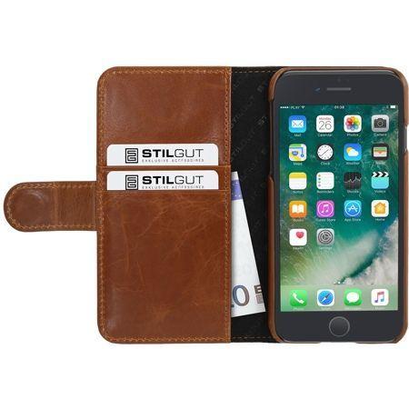 Etui na iPhone 7 Stilgut skórzany portfel z klapką na karty kredytowe - brązowy