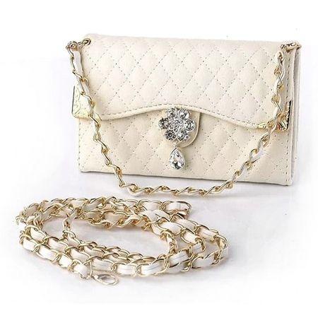 Etui na iPhone 6 / 6s - elegancka torebka z łańcuszkiem - biała.