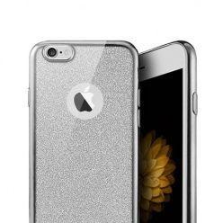 iPhone SE etui brokat silikonowe platynowane SLIM tpu - srebrny.