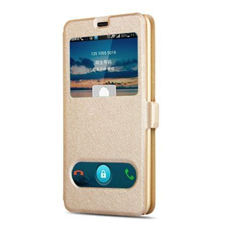 Samsung Galaxy A5 2017 etui Flip Quick View z klapką dwa okienka - Złoty.