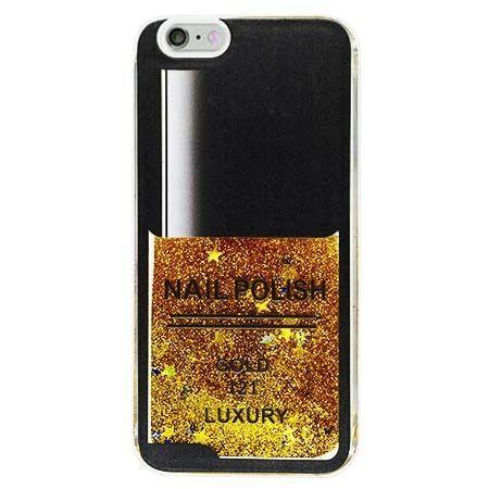 Etui na iPhone 6 , 6S z ruchomym płynem w środku Nails - złoty. PROMOCJA !!!