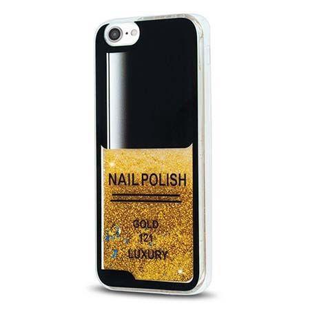 Etui na iPhone 7 z ruchomym płynem w środku Nails - złoty. PROMOCJA !!!
