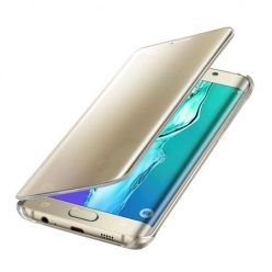 Etui na Galaxy S7 Edge Flip Clear View z klapką - złoty.