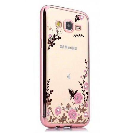 Etui na Galaxy J3 2016  silikonowe platynowane Kwiaty - różowy.