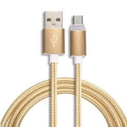 Kabel Micro-USB pleciony nylon 2A ,1m - złoty.