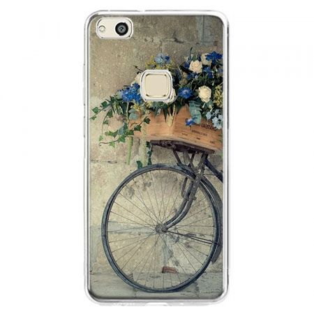 Etui na telefon Huawei P10 Lite - rower z kwiatami