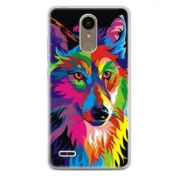 Etui na telefon LG K10 2017 - neonowy wilk