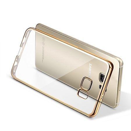 Samsung Galaxy S6 Edge przezroczyste etui platynowane SLIM  - złoty
