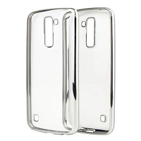 LG K10 przezroczyste silikonowe etui platynowane SLIM  - Srebrny.