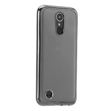LG K10 2017 przezroczyste silikonowe etui platynowane SLIM  - grafitowy.