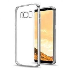 Galaxy S8 przezroczyste silikonowe etui platynowane SLIM - srebrny.