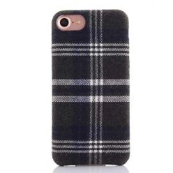 Etui na iPhone 7 Canvas materiałowe elastyczne - Szara krata.