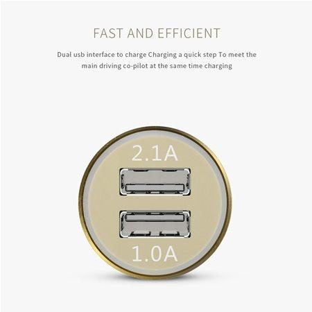 Aluminiowa ładowarka samochodowa Nokoko 2x USB - Srebrny.