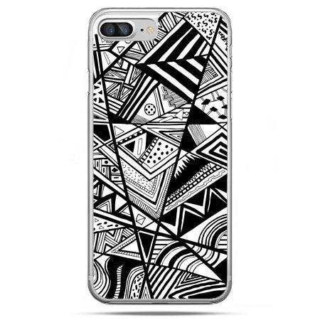 Etui na telefon iPhone 8 Plus - czarno białe trójkąty