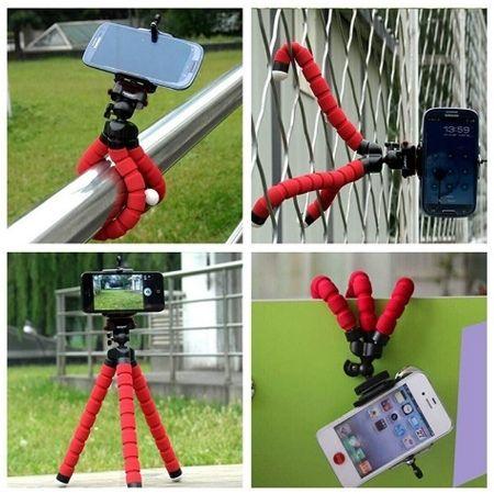 Mini statyw elastyczny tripod + uchwyt na telefon - Czerwony.