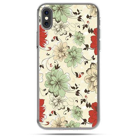 Etui na telefon iPhone X - zielone kwiaty