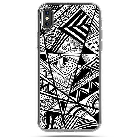 Etui na telefon iPhone X - czarno białe trójkąty