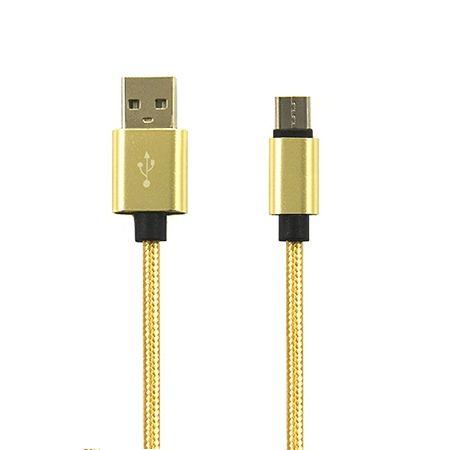 Kabel USB Typ-C pleciony nylon 1m - Złoty.