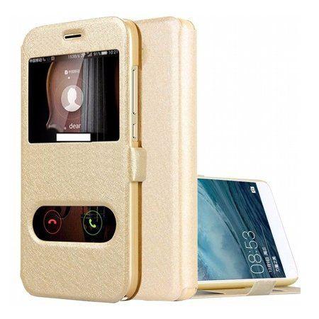 Etui na Huawei P9 Lite mini -  Flip Quick View z klapką dwa okienka - Złoty.