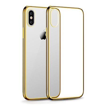 Etui na iPhone X - silikonowe platynowane SLIM - Złoty.