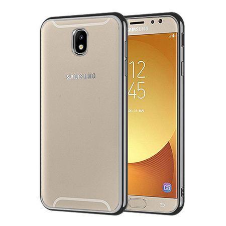 Samsung Galaxy J7 2017 - przezroczyste etui platynowane SLIM - Grafitowy.