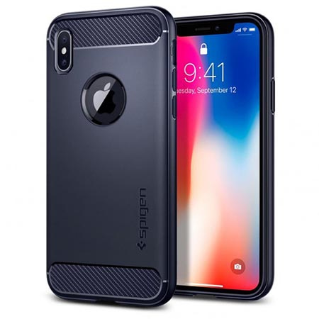 Etui na iPhone X 10 Spigen Rugged Armor - Niebieski