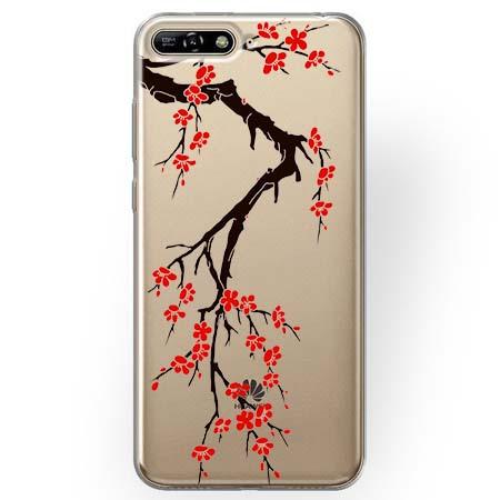 Etui na Huawei Y6 2018 - Krzew kwitnącej wiśni.