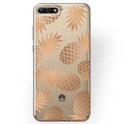 Etui na Huawei Y6 2018 - Złote ananasy.