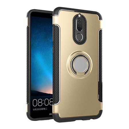 Etui na Huawei Mate 10 Lite - Pancerne Magnet Ring - Złoty.