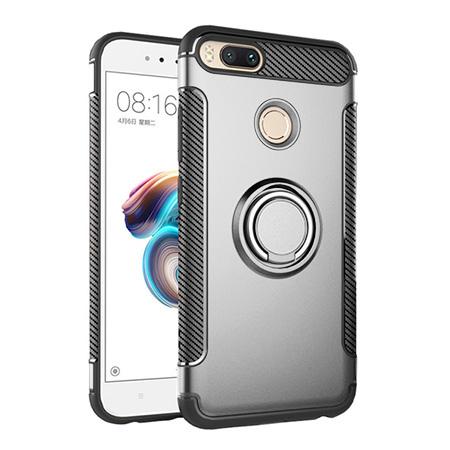 Etui na Xiaomi Mi 5x - Pancerne Magnet Ring - Srebrny.