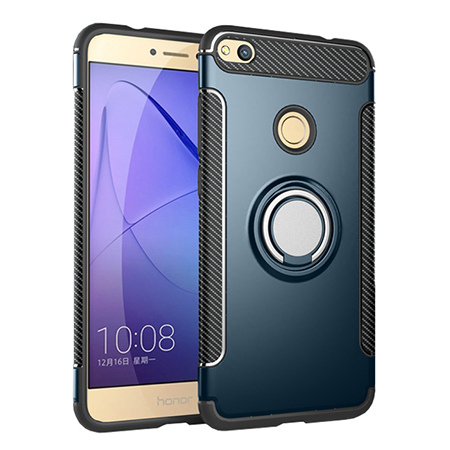 Etui na Huawei P9 Lite 2017 - Pancerne Magnet Ring - Niebieski stalowy.
