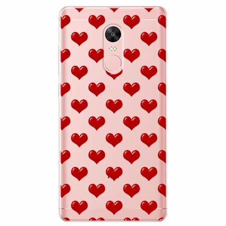 Etui na telefon Xiaomi Note 4X - Czerwone serduszka.