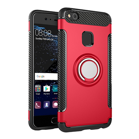 Etui na Huawei P10 Lite - Pancerne Magnet Ring - Czerwony.