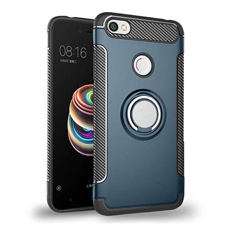 Etui na Xiaomi Redmi Note 5A Prime - Pancerne Magnet Ring - Niebieski stalowy.