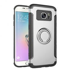 Etui na Samsung Galaxy S7 Edge - Pancerne Magnet Ring - Srebrny.