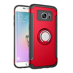 Etui na Samsung Galaxy S7 Edge - Pancerne Magnet Ring - Czerwony.