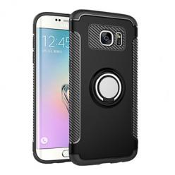 Etui na Samsung Galaxy S7 Edge - Pancerne Magnet Ring - Czarny.