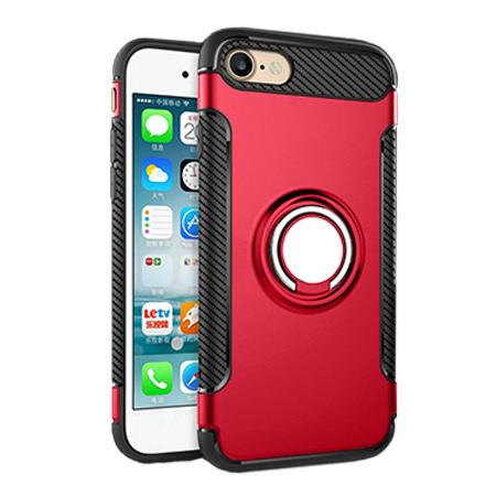 Etui na iPhone 7 - Pancerne Magnet Ring - Czerwony.