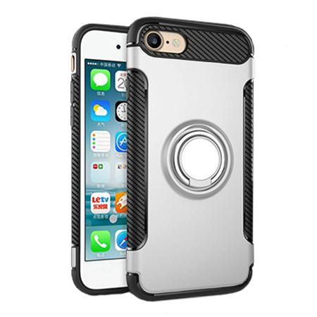 Etui na iPhone 7 - Pancerne Magnet Ring - Srebrny.