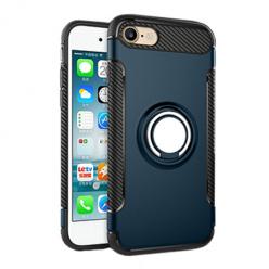 Etui na iPhone 8 - Pancerne Magnet Ring - Niebieski stalowy.