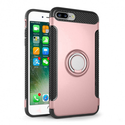 Etui na iPhone 7 Plus - Pancerne Magnet Ring - Różowy.